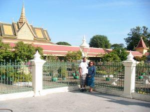 Caliph and I at the royal palace outside the silver pagoda.